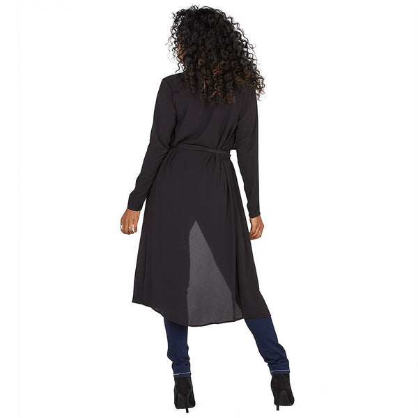All Wrapped Up Black Belted Duster Coat - Citi Trends Ladies and Plus - Back