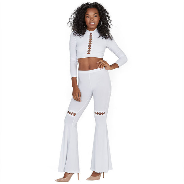 Crisp Connection White Flare Pant - Citi Trends Ladies - Full-Length Front