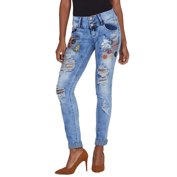 Patch Playful Rhinestone Distressed Skinny Jean - Citi Trends Ladies - Front
