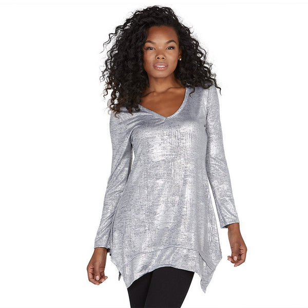 Shine Bright Metallic Silver Shark Bite Hem Tunic - Citi Trends Ladies - Front
