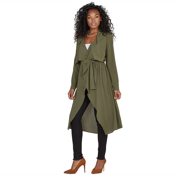 All Wrapped Up Olive Belted Duster Coat - Citi Trends Ladies and Plus - Front