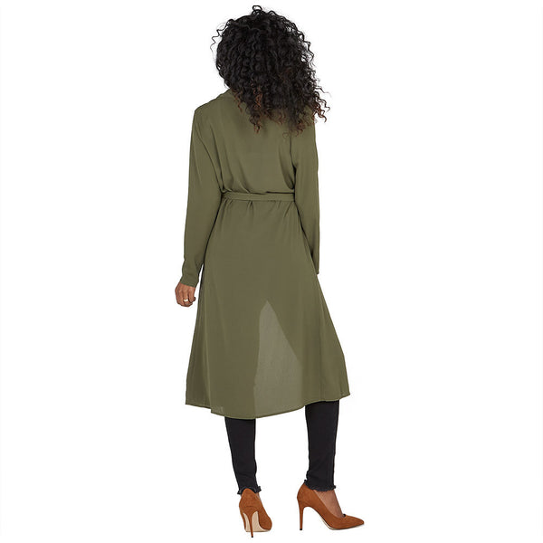 All Wrapped Up Olive Belted Duster Coat - Citi Trends Ladies and Plus - Back