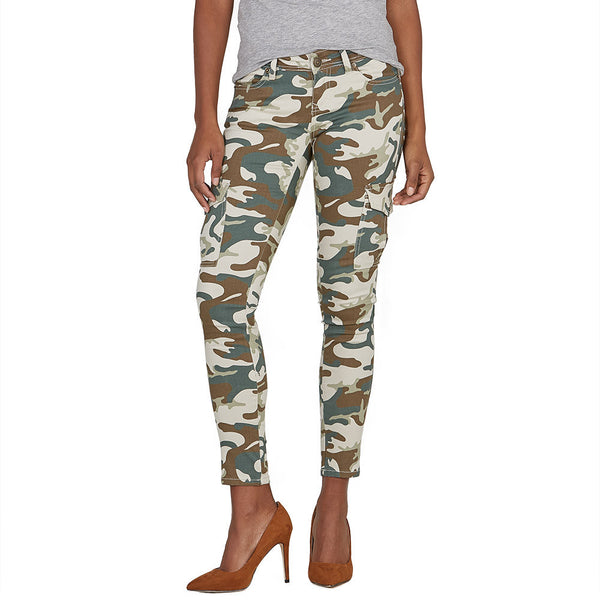 Stretch Back And Relax Taupe Camouflage Cargo Skinny Pant - Citi Trends Ladies and Plus - Front