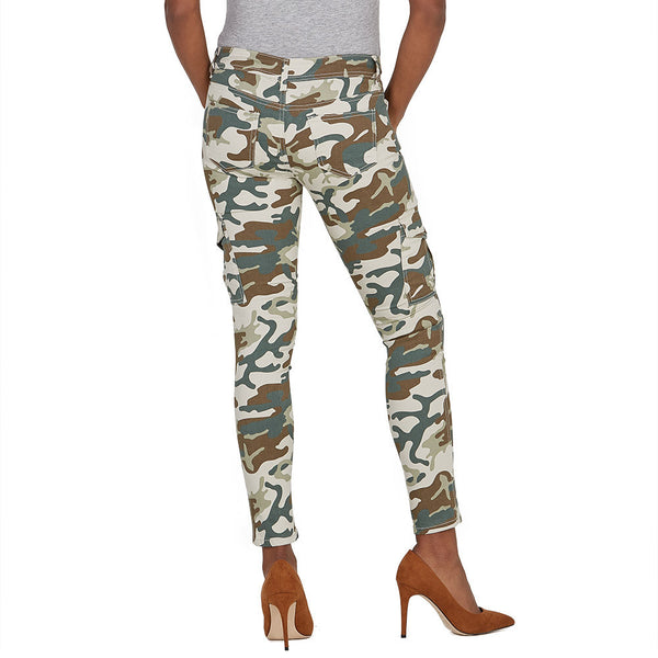 Stretch Back And Relax Taupe Camouflage Cargo Skinny Pant - Citi Trends Ladies and Plus - Back