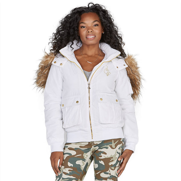 Lickety-split Baby Phat White Bomber Puffer Jacket - Citi Trends Plus and Ladies - Front