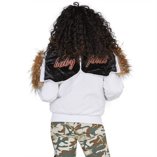 Lickety-split Baby Phat White Bomber Puffer Jacket - Citi Trends Plus and Ladies - Back