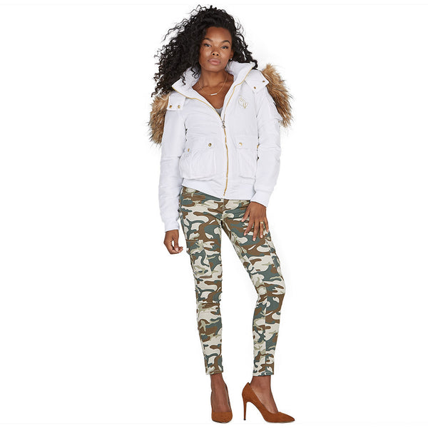 Lickety-split Baby Phat White Bomber Puffer Jacket - Citi Trends Plus and Ladies - Full-Length Front