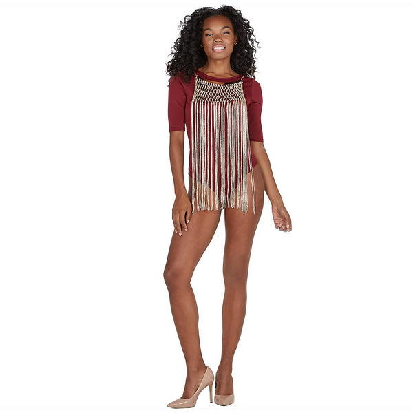 On The Fringe Burgundy Bodysuit With Attached Necklace - Citi Trends Juniors - FRONT