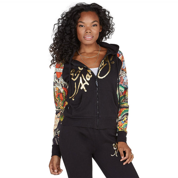 Rock The Walk Ed Hardy Black Tattoo Print Fleece Hoodie - Citi Trends Ladies and Plus - Front
