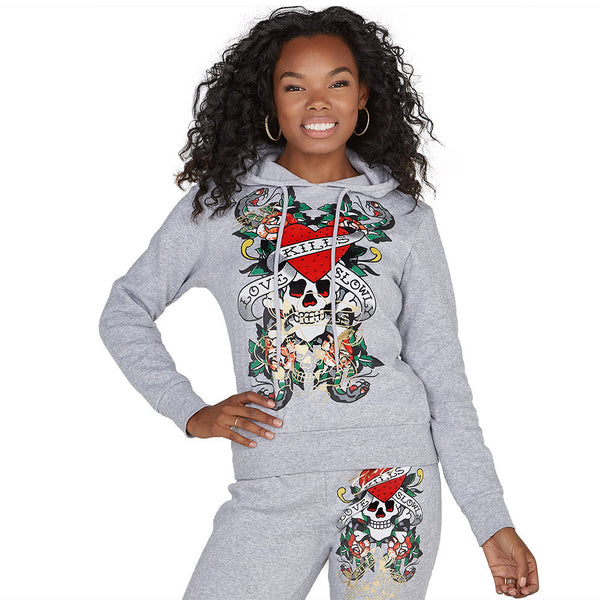 For The Love Of Comfort Grey Fleece Hoodie - Citi Trends Plus and Ladies - Front