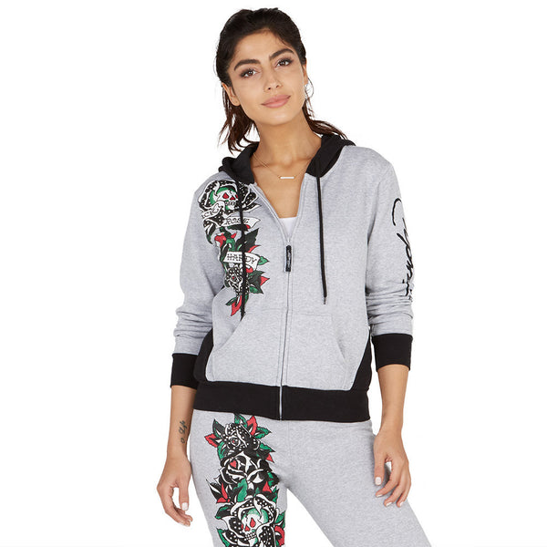 Run For The Roses Ed Hardy Charcoal/Black Fleece Hoodie - Citi Trends Plus and Ladies - Front