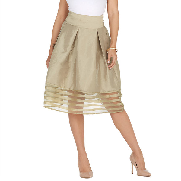 Pleat Party Gold Shadow Stripe Midi-Length Skirt - Citi Trends Ladies - Front