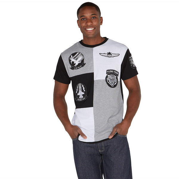 Flying Ace Black/White Patchwork Tee - Citi Trends Mens - Front