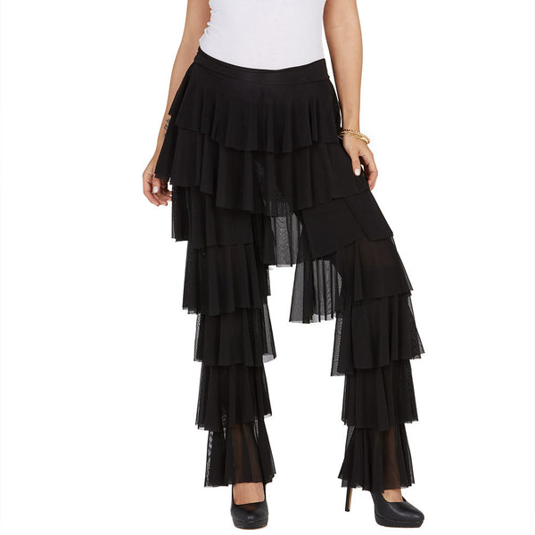 Ruffle Round-Up Black Mesh Pant - Citi Trends Ladies and Plus - Front