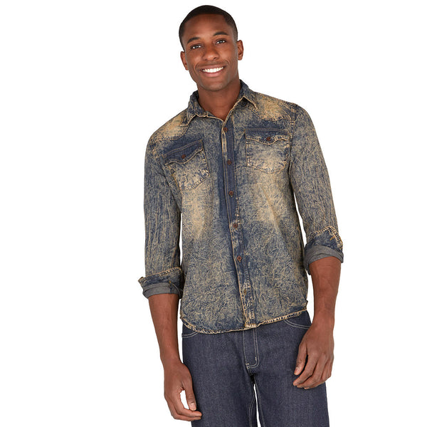 Denim Daze Vintage Wash Button-Up - Citi Trends Mens - Front