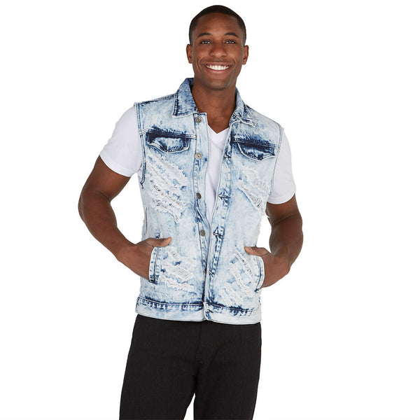 Ice, Ice Baby Distressed Denim Vest - Citi Trends Mens - Front