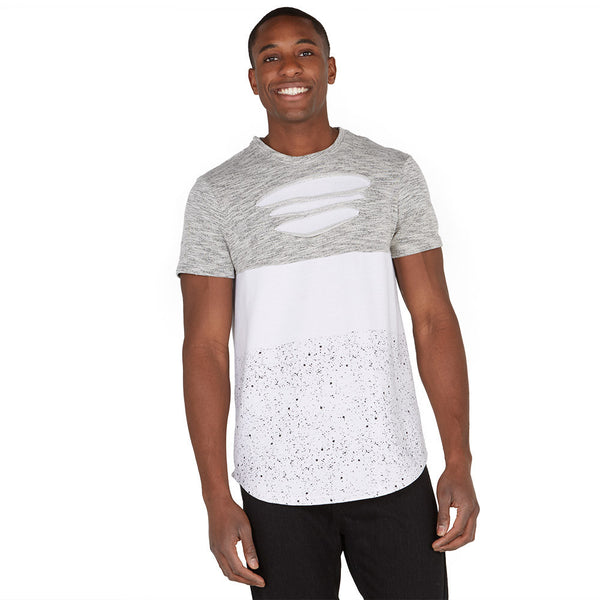 Let It Rip White/Grey High-Low Paint Splatter Tee - Citi Trends Mens - Front
