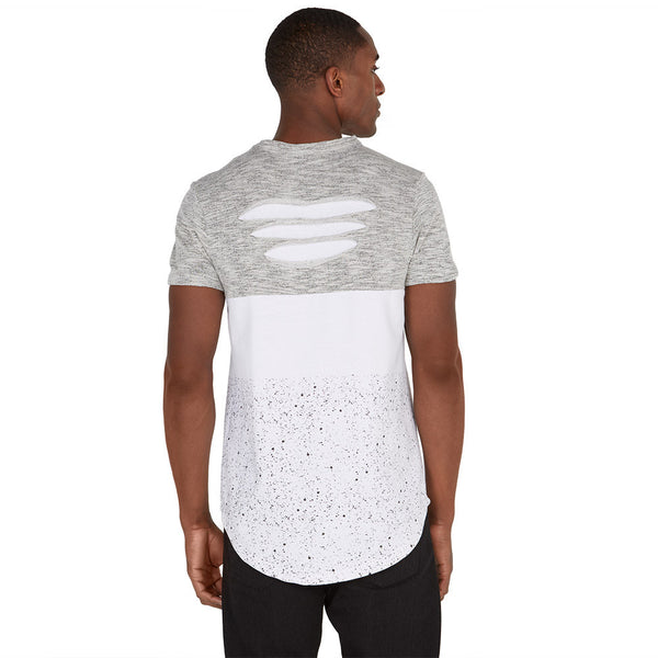 Let It Rip White/Grey High-Low Paint Splatter Tee - Citi Trends Mens - Back