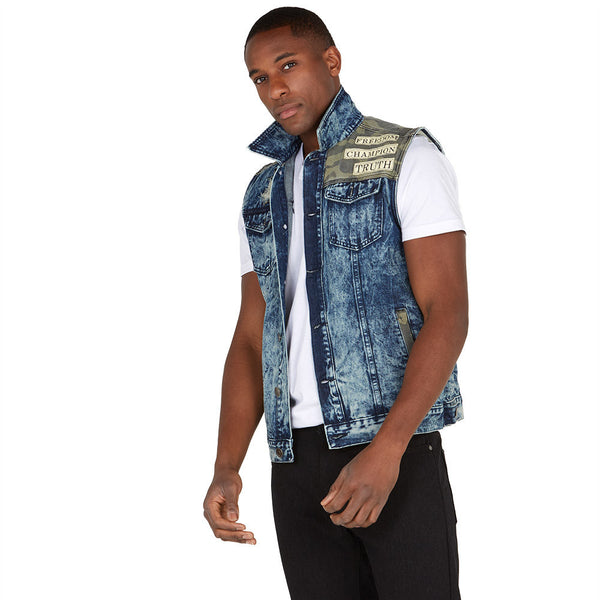 Patch The Truth Camo Denim Vest - Citi Trends Mens - Front