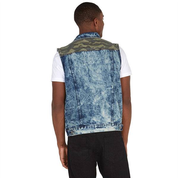 Patch The Truth Camo Denim Vest - Citi Trends Mens - Back