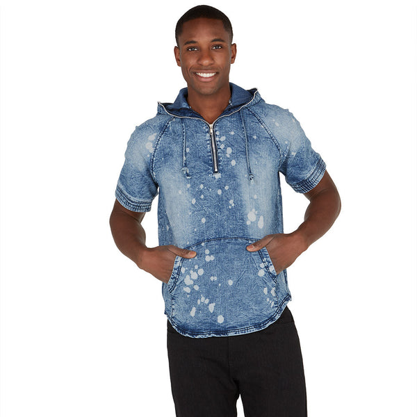 Bleach Bound Half-Zip Denim Hoodie - Citi Trends Mens - Front