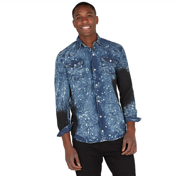 Denim Daytripper Grease Wash Button-Up - Citi Trends Mens - Front