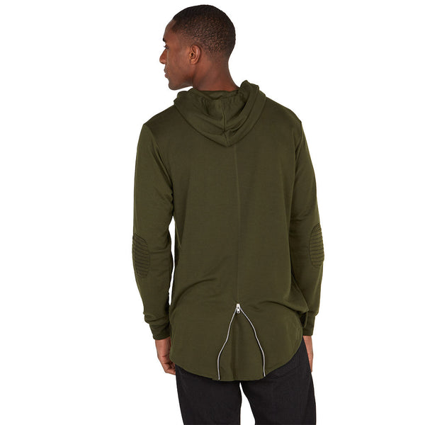 The Zip Degree Olive Fishtail-Hem Hoodie - Citi Trends Mens - Back