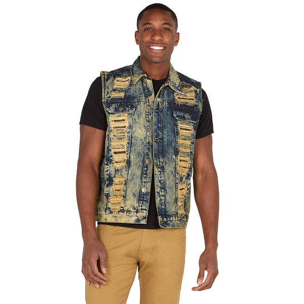 The Cutting-Edge Sahara Wash Rip And Repair Denim Vest - Citi Trends Mens - Front
