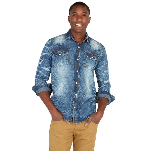 Whisked Away Light Blue Denim Button-Up - Citi Trends Mens - Front