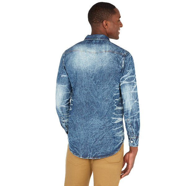 Whisked Away Light Blue Denim Button-Up - Citi Trends Mens - Back