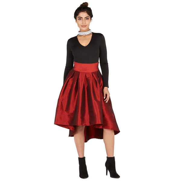 Glam-Getter Burgundy High-Low Midi-Length Skirt - Citi Trends Ladies and Plus - Front