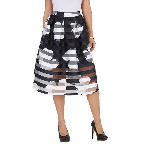 In Full Bloom Black/White Shadow Stripe Midi-Length Skirt - Citi Trends Ladies and Plus - Front