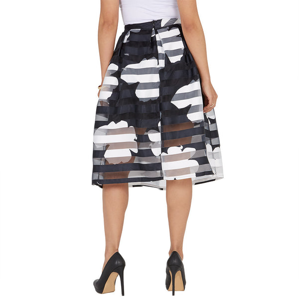 In Full Bloom Black/White Shadow Stripe Midi-Length Skirt - Citi Trends Ladies and Plus - Back