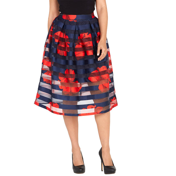 In Full Bloom Navy/Red Shadow Stripe Midi-Length Skirt - Citi Trends Ladies - Front