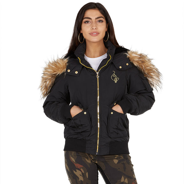 Lickety-split Baby Phat Black Bomber Puffer Jacket - Citi Trends Plus and Ladies - Front