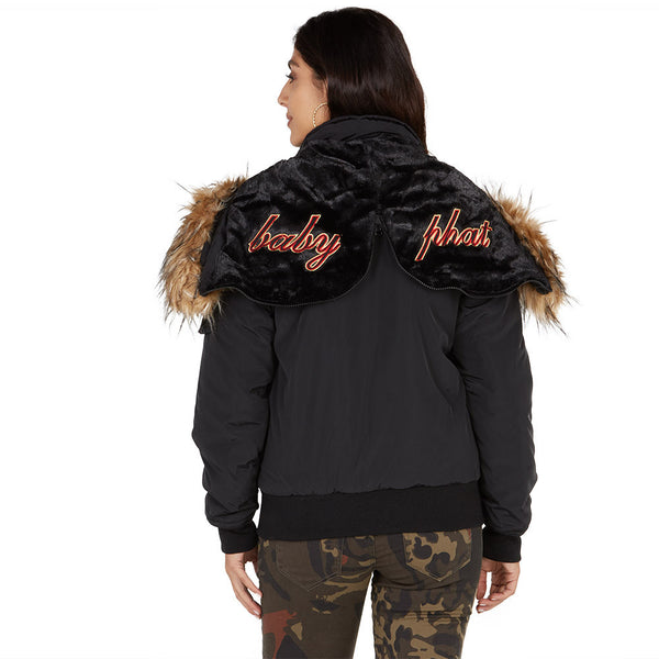 Lickety-split Baby Phat Black Bomber Puffer Jacket - Citi Trends Plus and Ladies - Back