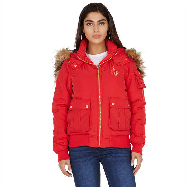 Lickety-split Baby Phat Red Bomber Puffer Jacket - Citi Trends Plus and Ladies - Front