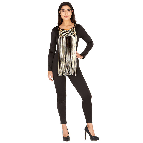 On The Fringe Black Catsuit With Attached Necklace - Citi Trends Ladies and Plus - Front