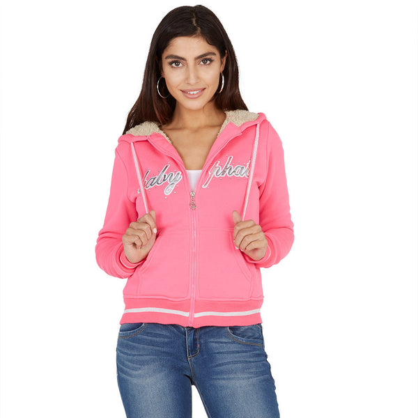 Chill Out Baby Phat Fuchsia/Silver Faux Fur Lined Hoodie - Citi Trends Ladies and Plus - Front