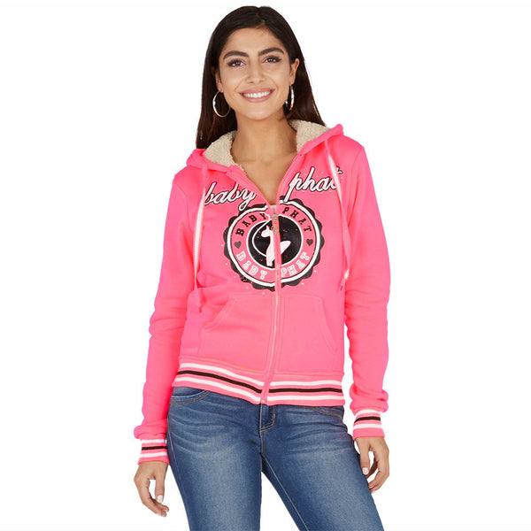 Crest To Impress Baby Phat Neon Coral Faux Fur Lined Hoodie - Citi Trends Ladies and Plus - Front
