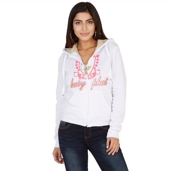 From The Heart Baby Phat White Faux Fur Lined Hoodie - Citi Trends Ladies and Plus - Front