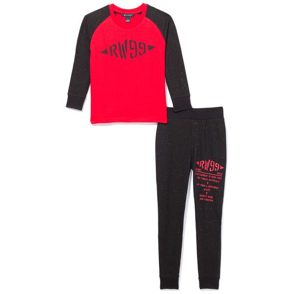 2-Piece Black/Red Baseball Tee And Jogger Set - Citi Trends Boys - Front