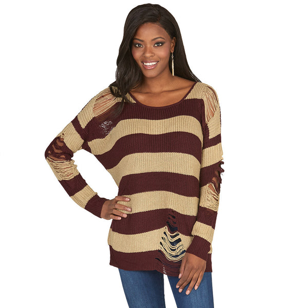 A Rip In Time Distressed Striped Rugby Sweater - Citi Trends Juniors - Front