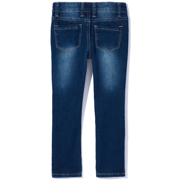 Medium Wash Rip And Repair Skinny Jean With Rhinestones - Citi Trends Girls - Back
