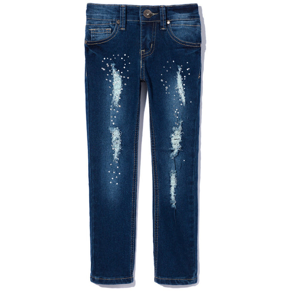 Medium Wash Rip And Repair Skinny Jean With Rhinestones - Citi Trends Girls - Front