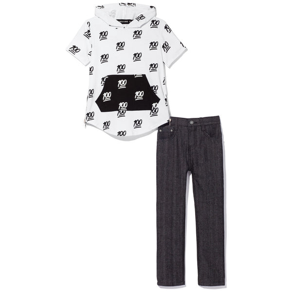 Black and White Short-Sleeve 100 Emoji Print Hoodie and Jean Set - Citi Trends Boys - Front
