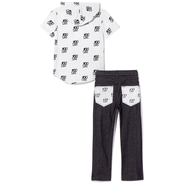 Black and White Short-Sleeve 100 Emoji Print Hoodie and Jean Set - Citi Trends Boys - Back