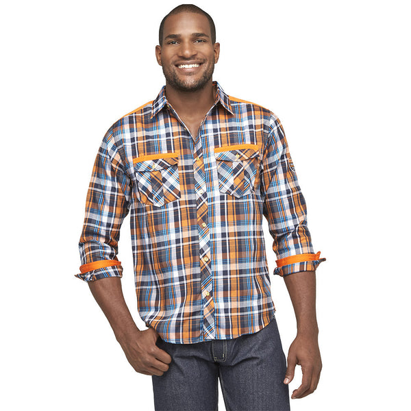 Get In Check Orange Plaid Button-Up - Citi Trends Mens - Front