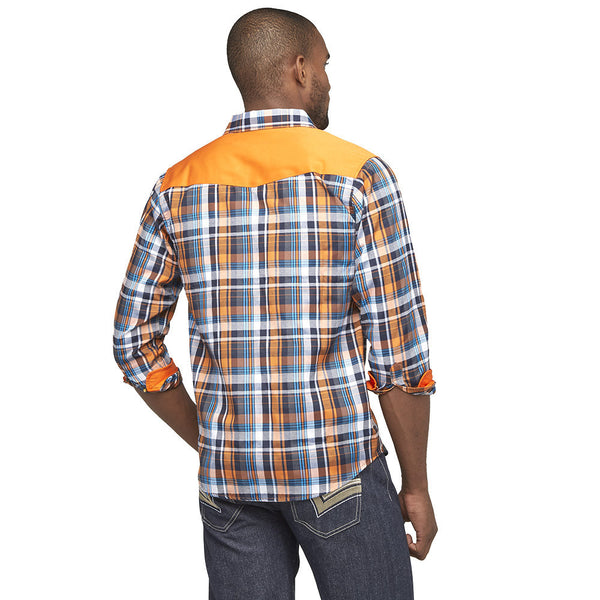 Get In Check Orange Plaid Button-Up - Citi Trends Mens - Back