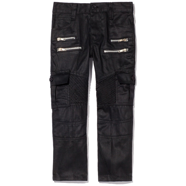 Too Cool For School Boys Black Moto Pants With Cargo Pockets - Citi Trends Boys - Front